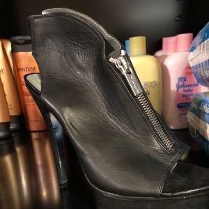 H by Halston Black Leather Platform Heels Zipper